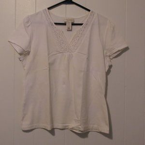 *3/$10* Studio Works Petite White Cotton Top